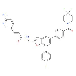 (E)-3-(6-aminopyridin-3-yl)-N-[[5-[4-(4,4-difluoropiperidine-1-carbonyl)phenyl]-7-(4-fluorophenyl)-1